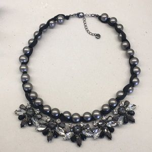LOFT gray pearl and crystal necklace